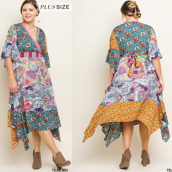 4cf80d609cc UMGEE Plus Size Boho Midi Garden Party Dress
